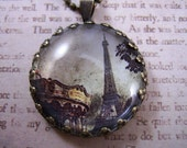 Eiffel Tower Vintage Carousel Necklace Paris, FREE SHIPPING