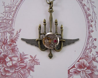Vintage Watch Movement on Chandalier with Wings and Ruby Crystal