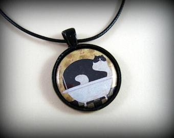 Cat Pendant Bathtub Beauty Feline Lovers Gift Necklace Gift