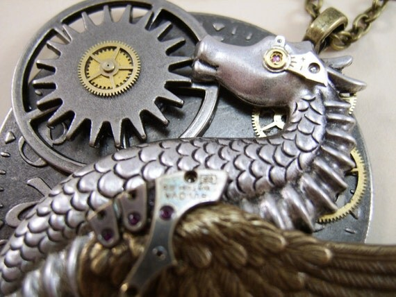 """Steam Punk Necklace,  """"The Time Writer"""", Winged Sea Dragon"""