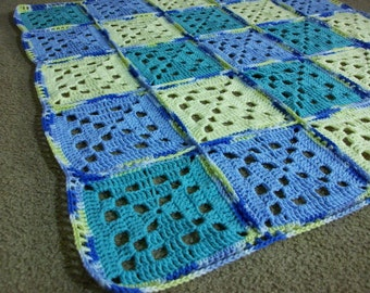 Blue Yellow Sea Foam Green Throw Boys Baby Blanket Granny Square Lapghan