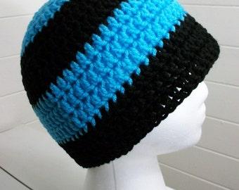 Black Electric Blue Striped Crochet Beanie Hat