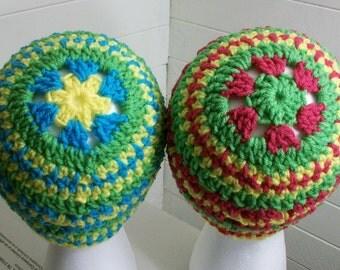 Neon Stripe OpenWork Beanie Ladies Crochet Hat