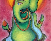 Blessing  -- Mixed Media painting of Lord ganesha