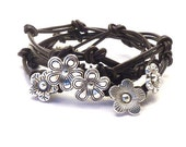 Knotted Leather Wrap Bracelet with Flower Charms,yoga jewelry,wrapped, wrapping, wrap around,wrist wrap