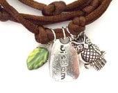 Owl, Wisdom Word Charm Wrap Bracelet.,yoga jewelry,wrapped, wrapping,wrist wrap