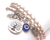 White Braided Leather Wrap Bracelet with Protection Charms,yoga jewelry, yoga bracelet, wrap bracelet, inspirational jewelry