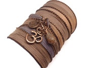 Screen Actors Guild Awards Gift Bag, Silk Wrap Bracelet with Copper Om Charms, yoga jewelry,