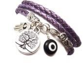 Leather Wrap Bracelet with Protection Charms,yoga jewelry,wrapped, wrapping, wrap around,wrist wrap