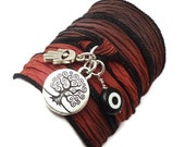 Silk Ribbon Wrap Bracelet with Protection Charms,yoga jewelry,wrapped, wrapping, wrap around,wrist wrap