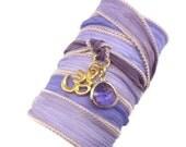 Silk Ribbon Bracelet with Gold Om Charm,yoga jewelry,wrapped, wrapping, wrap around,wrist wrap