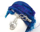 Sari Silk Ribbon Wrap Bracelet with Hamsa, yoga jewelry,wrapped, wrapping, wrap around,wrist wrap
