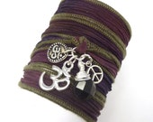 Yoga Bracelet with Om Charms, Peace Sign and Amethyst, yoga jewelry