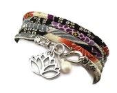 Japanese Wrap Bracelet with Lotus Flower Charm, Japanese Chirimen , yoga jewelry, wrapped wrapping bracelet, wrap around