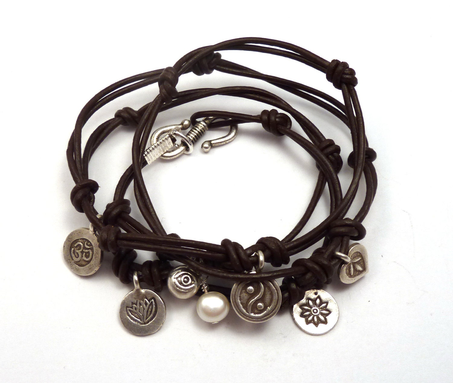 Leather Wrap Bracelet With Charms: Knotted Leather Wrap Bracelet With Karen Hill By