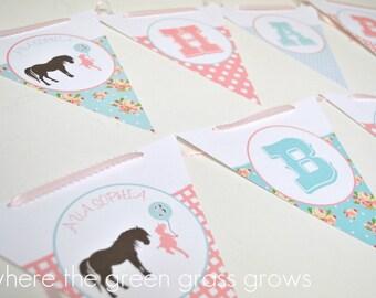 Shabby Chic Vintage Pony Banner Bunting