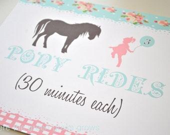 Vintage Shabby Chic Pony 8x10 Sign