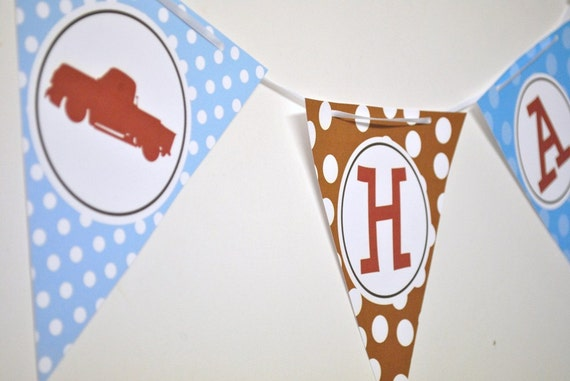 Vintage Truck Party Banner Bunting