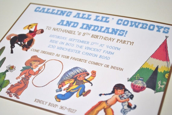 Cowboy and Indian Birthday Invitations