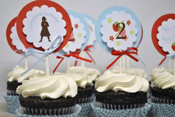 Strawberry Patch Silhouette Cupcake Toppers