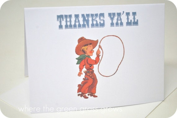 Vintage Cowboy Thank you Cards