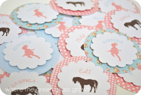 Shabby Chic Vintage Pony Tags