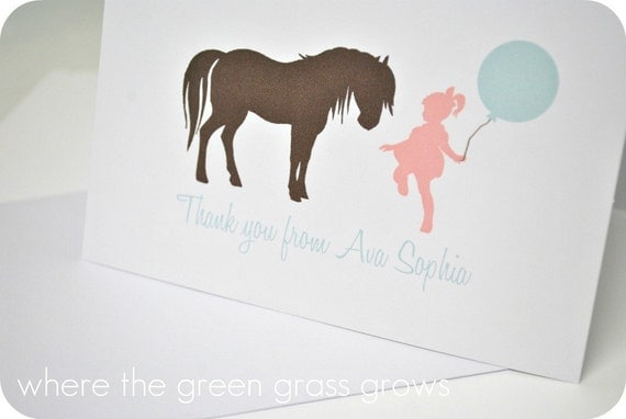Shabby Chic Vintage Pony Thank you Cards
