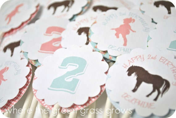 Vintage Shabby Chic Pony Cupcake Toppers