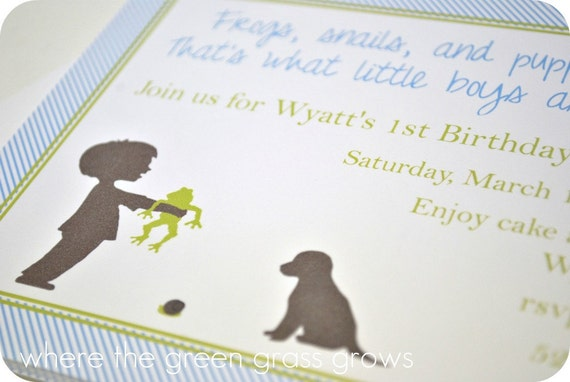 Frogs Snails and Puppy Dog Tails Invitations, Thank you Cards, Cupcake Toppers and Return Address Labels