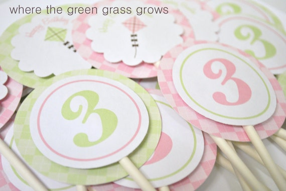 Let's Go Fly a Kite Cupcake Toppers and Tags