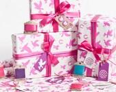 Love Birds Fuschia Gift Wrap