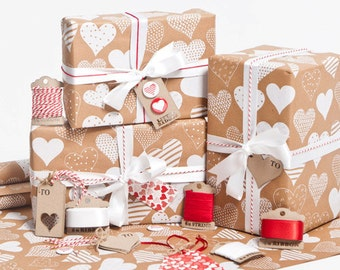 White Love Hearts Brown Gift Wrap