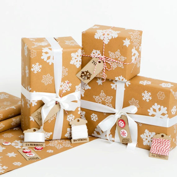 Recycled Snowflakes Brown Gift Wrap
