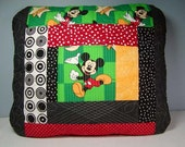 Quilted Mickey Pillow Cover - Cotton Fabric, Green/Black/Red/White/Mustard