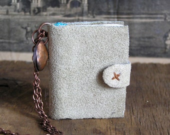 All accounted for, tiny leather journal book for a necklace, handmade, miniature, jewelry art, accessory,steampunk, JunqueTreasures