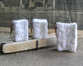 White lace, 3 tiny lace journal or book set for necklace and earrings, handmade, miniature, jewelry art, accessory, JunqueTreasures