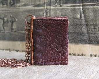 Just for you, tiny leather journal book, handmade, miniature, jewelry art, necklace, accessory, JunqueTreasures