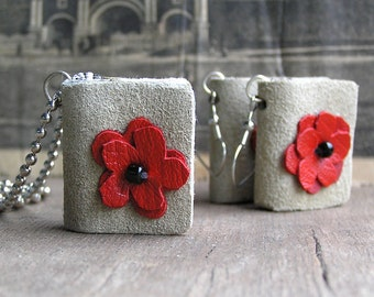 Flower Collection, tiny leather  journals or books, for necklace and earrings, handmade, miniature, jewelry art, accessory, JunqueTreasures