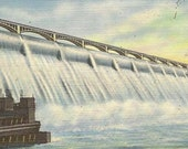 Grand Coulee Dam Washington Unused Vintage Linen Postcard