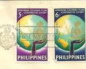 Vintage First Day Cover - PHILIPPINES FDC 843-844 Colombo Plan Cachet to Illinois Vintage Paper Ephemera