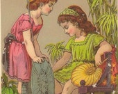Victorian Trade Card BURTS SHOES - Young Goddess and her shoes Presented by Baldwin and Miller of Bridgeport Connecticut