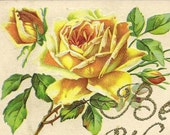 RESERVED LISTING - YELLOW Rose with Glitter Best Wishes Beautiful vintage tinsel postcard