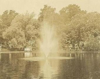Vintage Real Photo Postcard Pond at Riverside MARSHALLTOWN Iowa 1912 Flag Cancel RPPC