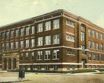 Caleb Mills Hall INDIANAPOLIS Indiana Vintage Postcard 1910 Cancel