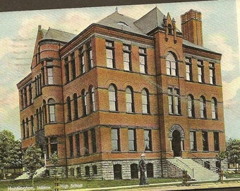 Vintage Postcard HUNTINGTON Indiana  High School with 1910 flag cancel