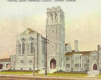 Timothy Eaton Memorial Church Pair Of Toronto Vintage Postcards Unused