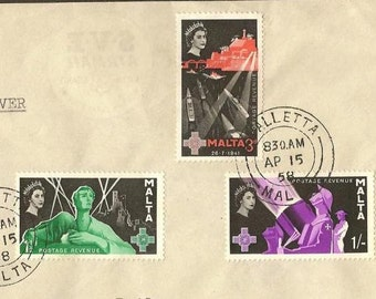 First Day Cover 1958 MALTA Scott Numbers 269-271 Second George Cross Issue WWII theme Vintage Paper Ephemera