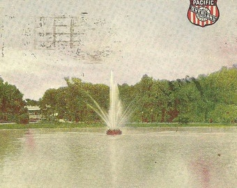 Union Pacific Overland Vintage Postcard - Lake in Forest Park ST LOUIS 1912