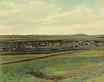 Birds Eye View of EDGEMONT South Dakota Unused Vintage Postcard