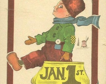 Dutch Boy on Vintage New Year's Solomon Brothers Postcard - Uprated to Holland 1915 Brooklyn NY cancel